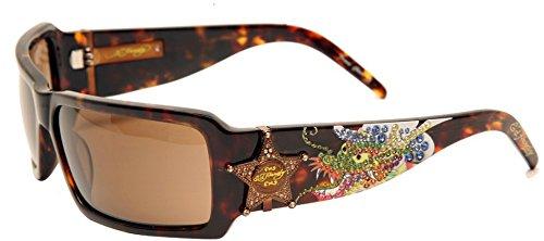 Ed Hardy Sheriff Dragon Sunglasses EHS-021 Tokyo Tortoise Solid Brown
