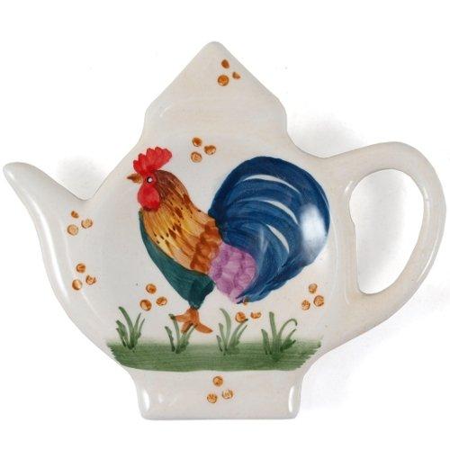 Country Rooster Ceramic Tea Bag Holder Caddy Set of 2