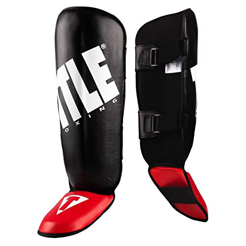 Title Boxing Pro Style Shin Instep Guards 2.0, Black,Red, Adult