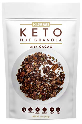 Low Karb - Keto Cacao Nut Granola Healthy Breakfast Cereal - Low Carb Snacks & Food - 3g Net Carbs - Almonds, Pecans, Coconut and more (11 oz)
