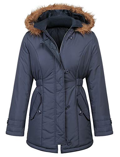 Yayado Women's Thickened Parka Coat with Removable Fur Hood Navy Blue XXL