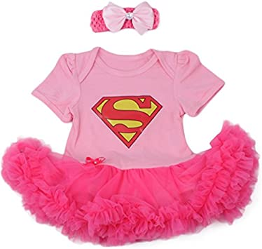 Supergirl Set Body falda rosa y diadema 3 A 24 meses 0/3 meses, 6 ...