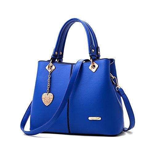 Tisdaini 2018 New delle donne Tote Fashion spalla Messenger Bag PU borse portafoglio Blu