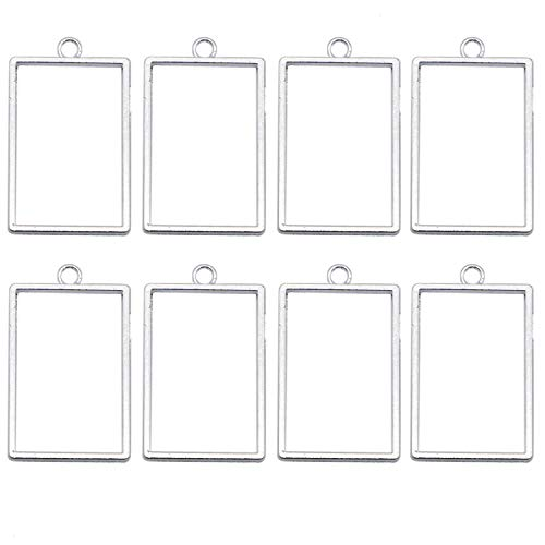 - JETEHO 20pcs 22x37mm Shiny Silver Rectangular Framework Open Back Bezel Pendant Blanks Zinc Alloy Accessories for Jewelry Making