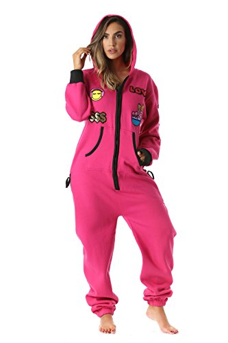 #followme 6457-FUS-M Adult Onesie with Patches Pajamas Jumpsuit