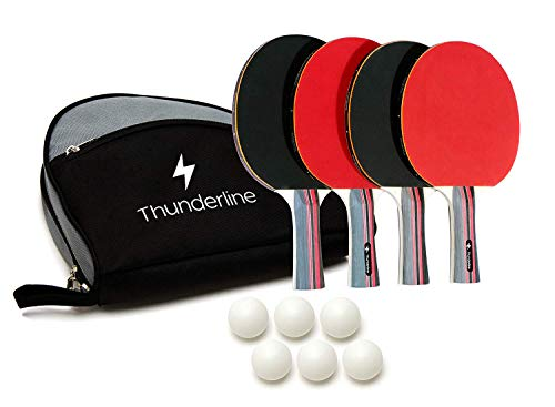 Ping Pong Paddle Set of 4 - Bundle of Rackets with Advanced Control, Crazy Speed, & Killer Spin - Comfortable Portable Case - 6 Professional ABS Table Tennis Balls - Indoor & Outdoor Play