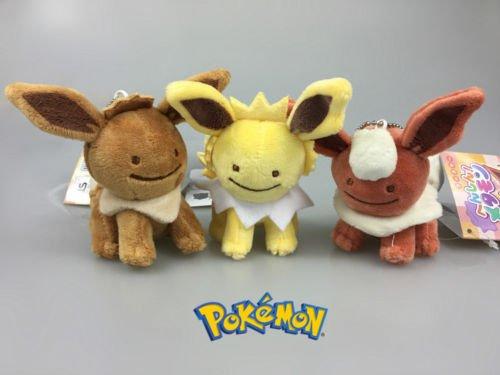 [NEW 3PCS Pokemon Eevee Jolteon Flareon Ditto Metamon Plush Toy Doll Pendant Gift] (Monster High Costumes Walmart)