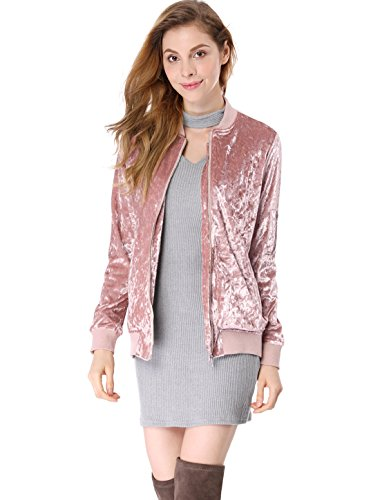 Silk Casual Jacket (Allegra K Women's Crushed Velvet Zip Up Pockets Bomber Jacket XS Pink)