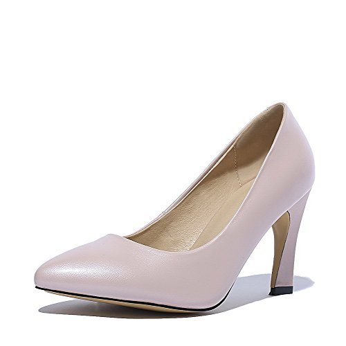 VogueZone009 Women's Soft Material Pointed Closed Toe High Heels Pull On Solid Pumps Shoes Pink IxT2A