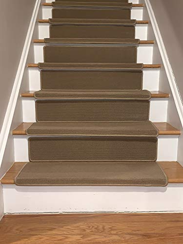Bullnose Indoor Skid Slip Resistant Carpet Stair Treads with 6 inch Riser Tread and Adhesive Strips (10 ½ inch x 30 inch) (Beige, Set of 15) (Carpet Riser)