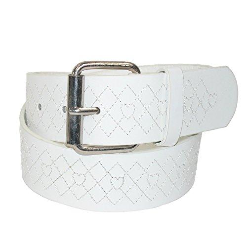 Argyle Embossed Belt (Landes Girls' Argyle and Heart Embossed Bridle Belt, 10,)