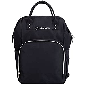Lekebaby Multifunction Diaper Bag Backpack with Changing Pad and Stroller Straps for Moms & Girls Travelling Daily Use(Black)