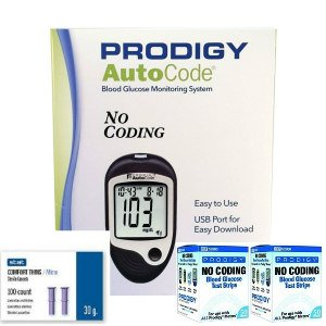 Prodigy Auto Code Diabetes Testing Kit - Prodigy TALKING Meter, 100 Prodigy Auto Code Test Strips, 100 Comfort Lancets, Carry Case, Manual by MedicalSupplyMI