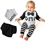 First Birthday Outfit Boy 1st Onesie B-Day - Bow Tie Word One Leg Warmers Bib Baby Cake Smash Set 5 Piece Set Raglan Tee 6-12 Months