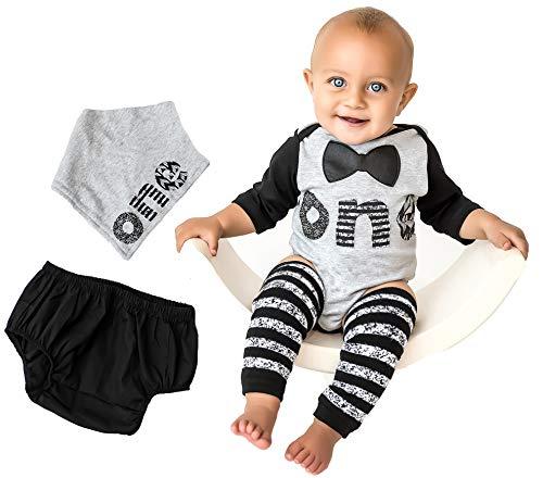 (1st Baby Boys First Birthday Onesie Classy Outfit Set Bow Tie Shirt Black White Cake Smash 5 Piece Set 12-18)