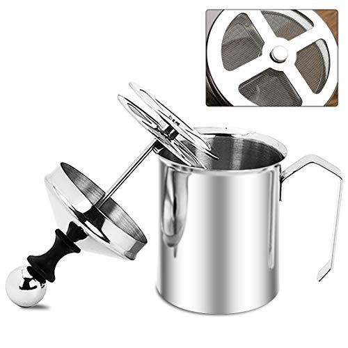 Stainless Steel Hand Pump Milk Frother, Manual Operated Milk Foam Maker, 17 oz Cup for Cappuccino and Coffee Latte (500ml) ()