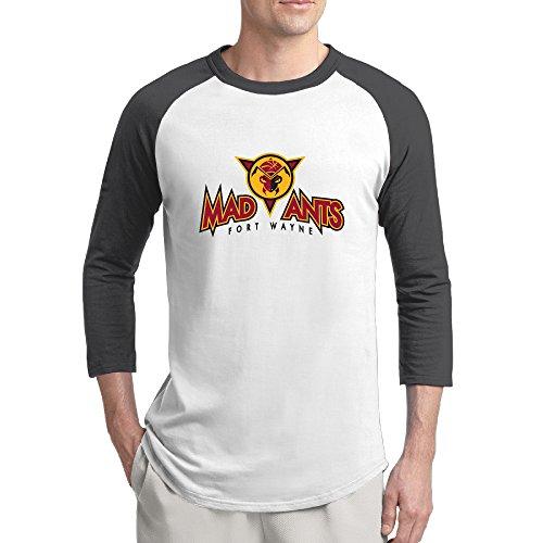 Men's 3/4 Sleeve Fort Wayne Mad Ants Raglan Shirts Printed Baseball (Mad Baseball Jersey)