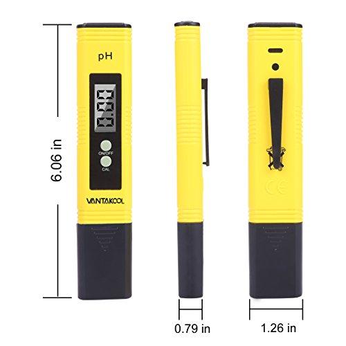 VANTAKOOL Digital PH Meter, 0.01 PH High Accuracy Water Quality Tester with 0-14 PH Measurement Range for Household Drinking, Pool and Aquarium Water PH Tester Design with ATC (yellow) by VantaKool (Image #1)'