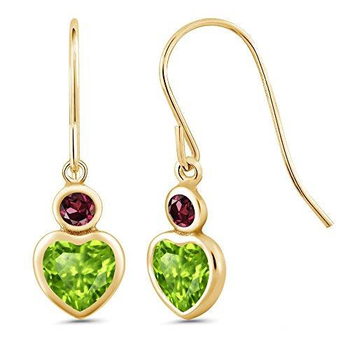 Gem Stone King 1.26 Ct Heart Shape Green Peridot Red Rhodolite Garnet 14K Yellow Gold Earrings ()