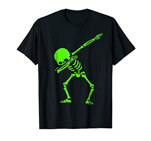 Dabbing Skeleton Shirt Halloween T-Shirt GLOW Skeleton -