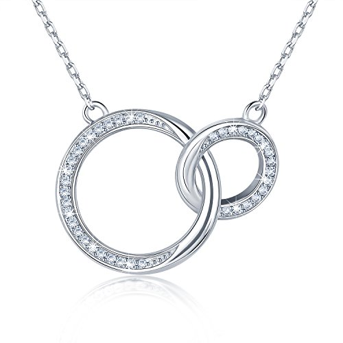 BlingGem 925 Sterling Silver Necklace for Mother and Daughter 2 Generations Infinity Circles Rings with Cubic Zirconia Love Pendant Jewelry Gift for Mother's Day ()