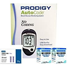 Prodigy Auto Code Diabetes Testing Kit - Prodigy TALKING Meter, 100 Prodigy Auto Code Test Strips, 100 Comfort Lancets, Carry Case, Manual