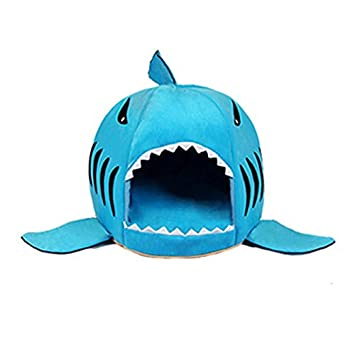 ArMordy(TM) 3 Colors Cartoon Shark Dog Bed House Winter Warm Cat Bed Detachable