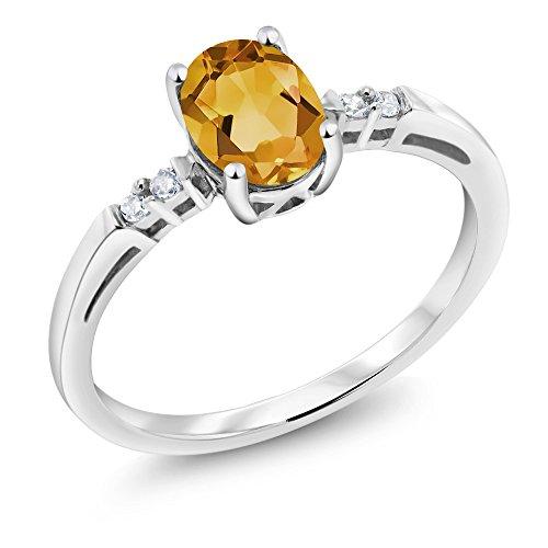 14K White Gold 0.63 Ct Oval Yellow Citrine White Diamond Ring