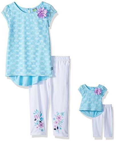 Dollie & Me Big Girls' Hi-Lo Tunic with Legging and Matching Doll Outfit, Aqua/White, 7 -