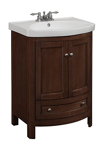 RunFine RFVA0069 Vanity with Vitreous China Top, One Drawer and Cabinet and Doors, Walnut Finish Bathroom Vanity Cabinet Finish
