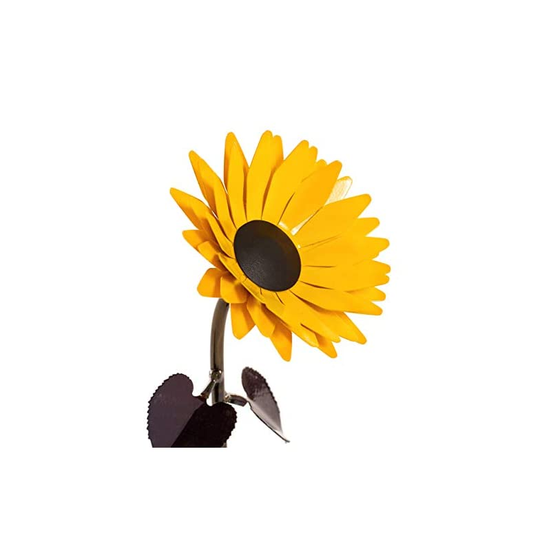 silk flower arrangements hand-forged wrought iron sunflower - iron anniversary gift