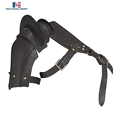 Nautical-Mart Warriors Single Pauldron Leather Shoulder Armor Black Halloween (Large) -