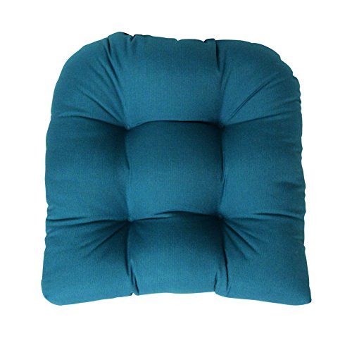 RSH Decor Sunbrella Canvas Peacock Wicker Chair Cushion - Indoor/Outdoor Tufted Wicker Chair Seat Cushions - Teal Turquoise Blue Green