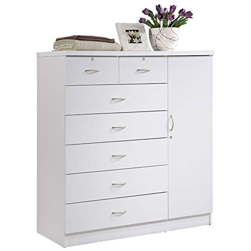 (Pemberly Row Tall 7 Drawer Chest with 2 Locking Drawers and Garment Rod or Extra Storage in White)