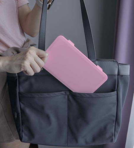 Personal Face Mask Storage Container and Organizer (Pink)