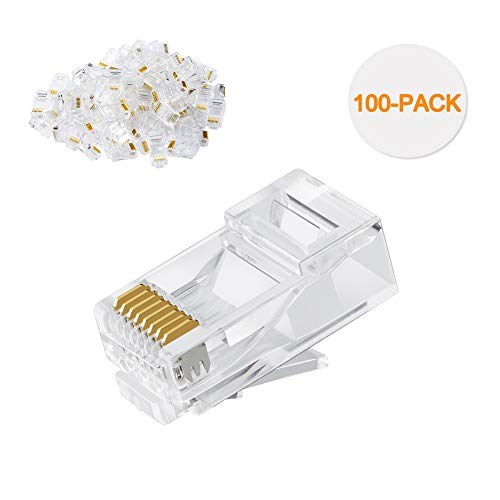 Cat6 RJ45 Ends, CableCreation 100-PACK Cat6 Connector, Cat6a / Cat5e RJ45 Connector, Ethernet Cable Crimp Connectors UTP Network Plug for Solid Wire and Standard Cable, Transparent ()