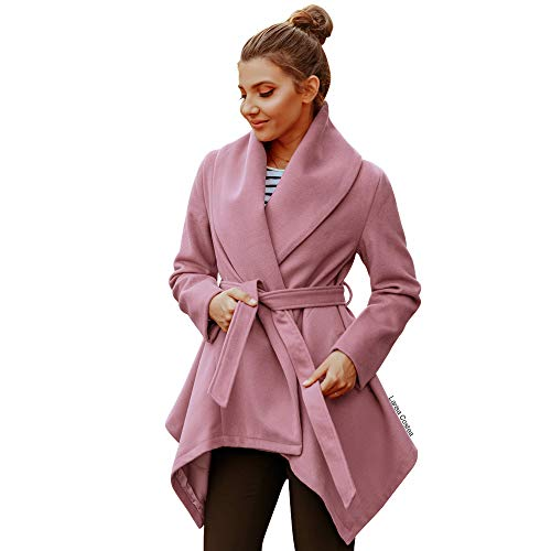 Chicwish Women's Turn Down Shawl Collar Open Front Long Sleeve Pink Asymmetric Hemline Wool Blend -