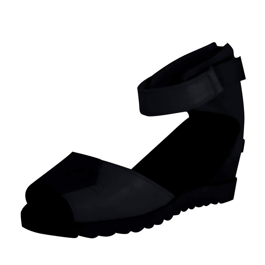 Women's Fashion Wedges Sandals Open Toe Thick Bottom Straps Buckle Shoes Roman Sandals US: 5-9 (Black, US:6.5-Foot Length:9.5'')