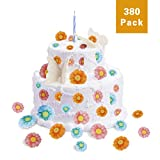 FishMM Set of 380 Edible Daisy Flowers Party Decorations, Wafer Rice Paper for Cake, Cakecup, Food, Fruit, baking, Wedding Table Decorations Toppers