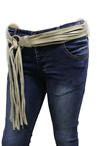Silver Link Concho Belt - TFJ Women Bohemian Fashion Ivory Faux Suede Leather Tie Belt Fringes S M L