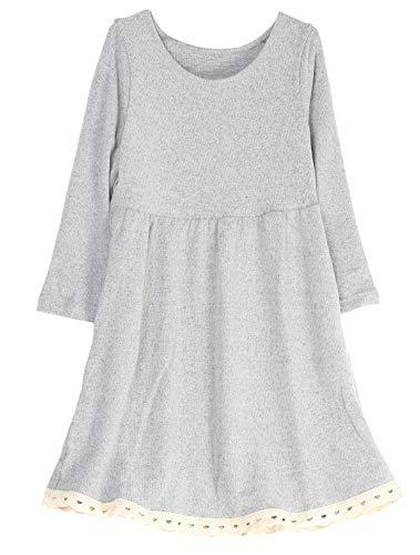 Mallimoda Big Girl's Casual Long Sleeve Knit Dress with Lace Hem Gray 9-10 Years ()
