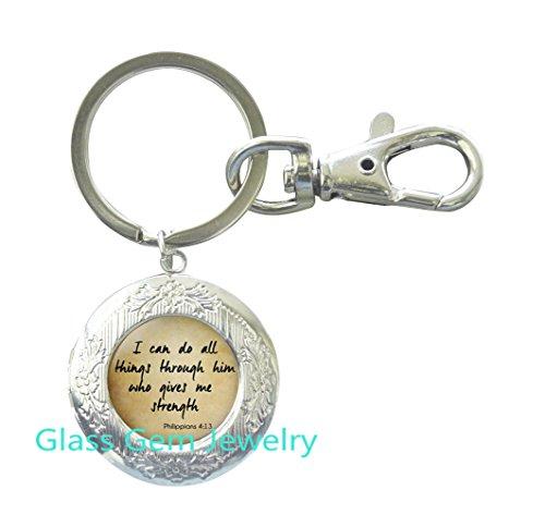 SCRIPTURE Locket Key Ring Philippians 4:13 Scripture Jewelry Encouragement Bible Quote Locket Key Ring Quote Jewelry Christian Locket Key Ring Gift for Christian,Q0196