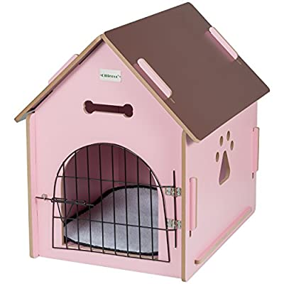 Ollieroo Dog House Crate Wooden Kennel Indoor Condo for Small Dogs Cats Pet Home with Door and Bed Mat