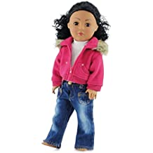 18 Inch Doll Clothes/Clothing Fits American Girl Doll - Fur Collar Accessory Jacket Outfit with White T-Shirt and Distressed Jeans