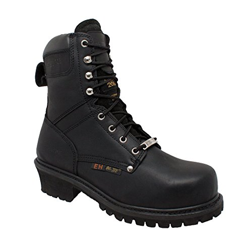 "- ADTEC Men's 9"" Super Logger with Steel-Toe, Waterproof Goodyear Welt, Leather, Utility Boot 200g, Black, 9 M US"