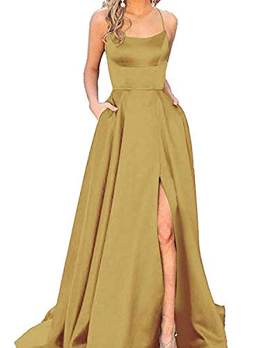 Strap Prom Gown - Split Formal Evening Gowns Spaghetti Straps Satin Prom Dresses Long with Pockets Womens Gold 6