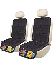 Car Seat Protector, 2 Pack Large Auto Seat Protectors Protect Child Seats with Mesh Pocket, Thickest Padding Pat Durable, Waterproof 600D Fabric, Child Car Seat Cover for SUV Sedan Truck