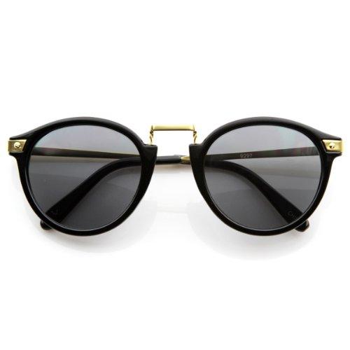 zeroUV - Vintage Inspired Round Horned Rim P-3 Frame Retro Sunglasses (Shiny - Shiny Gold Rims