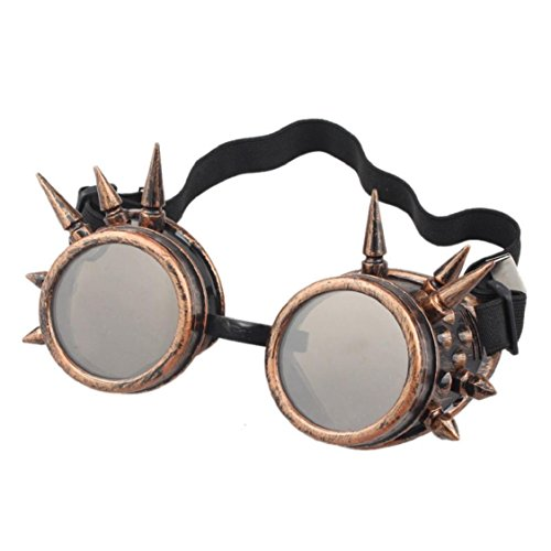 Ikevan 2017 Fashion Retro Rivet Steampunk Windproof Mirror Vintage Gothic Lenses Goggles Glasses (Red Copper)