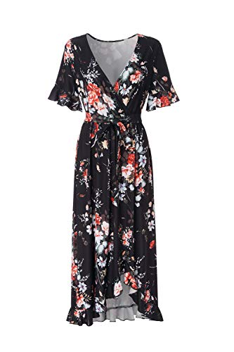 BEAUTIFUL-LIFE Summer Dresses Summer Dresses for Women Maxi Dresses Maxi Dresses (XX-Large, Black&Red)